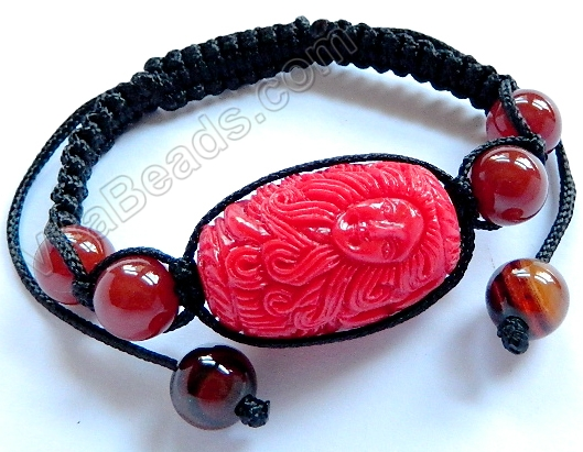 Synthetic Cinnabar Bracelet