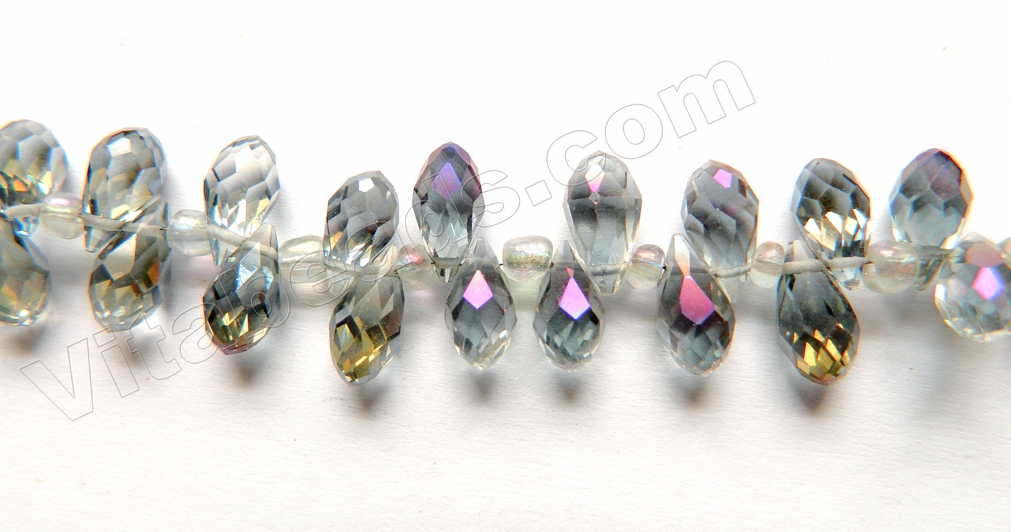 7 x 10 mm New 10 inch long strand of mystic Grey Chalcedony Nugget 6 x 9