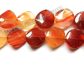 8 Pretty Rough Faced Coin Shaped Red Agate gemstone beads 15 mm